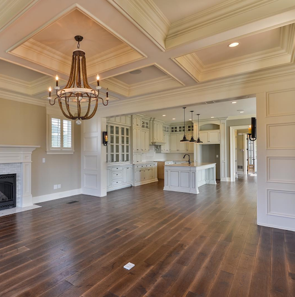 Artisan Signature Homes coffered ceiling and wainscoating