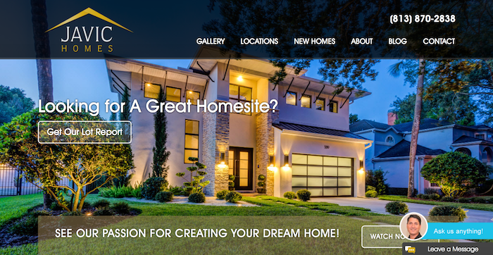 Javic Homes website picture